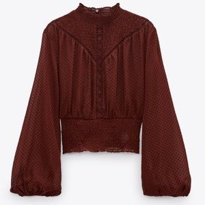 NEW Zara Boho Lace Insert Crop Smocked Blouse Top